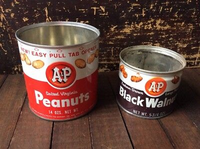 2 Vintage A&P GROCERY STORE Supermarket WALNUTS & PEANUTS FOOD TIN CANS