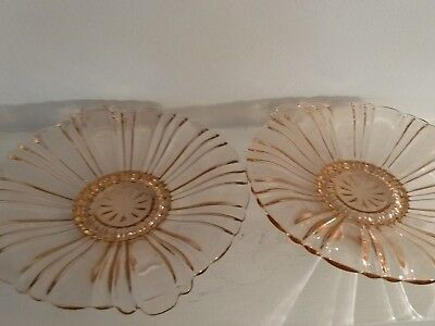 Vintage Pink Depression Glass Dish, Scalloped Rim, small foot, set of 2