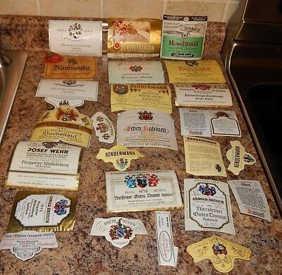 Vintage GERMAN MIXED LOT 25 WINE LABELS Collectible Rare Graphic Color #1
