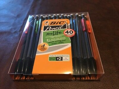 NIB 0.7 mm BIC 40 COUNT XTRA LIFE MECHANICAL PENCILS MULTICOLORED