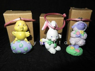 AVON Easter Tree Decorations Bunny, Chick, Lamb Hard Rubber 3 Styles w/ Boxes
