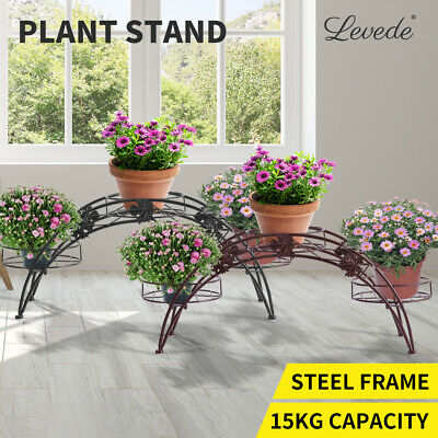 Outdoor Indoor Pot Plant Stand Garden Decor Flower Rack Wrought Iron Arch 2Color