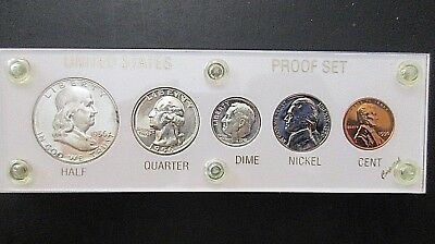 1956 US 5 Piece Proof Coin Set Housed in a Capitol Holder with Pouch