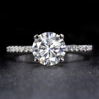 2ct MOISSANITE FOREVER BRILLIANT 8mm NATURAL DIAMOND ENGAGEMENT RING THIN BAND