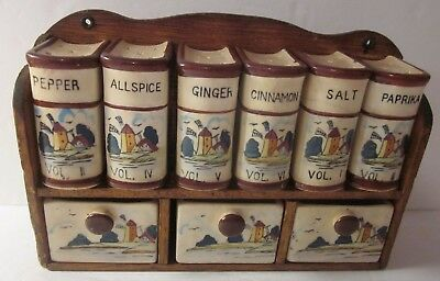 Antique Wall Hanging Shelf Spice Rack with Porcelain Drawer and 6 Spices Shaker