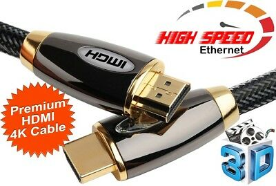 15M Premium Braided HDMI Cable V2.0 Gold High Speed HDTV UltraHD HD 2160p 4K 3D