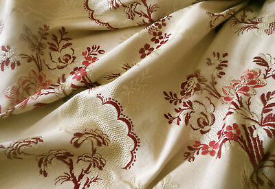 Antique French Garland Floral Silk Brocade Fabric ~ Wine Bordeaux Rose Red Ceam