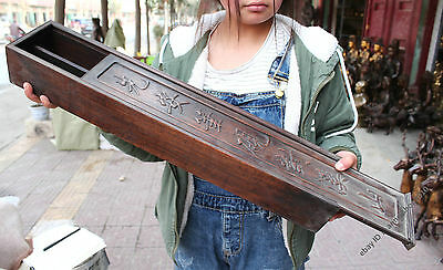 60cm Collect Chinese Boxwood Boxes Rosewood Jewelry Box wood Cabinet Sculpture
