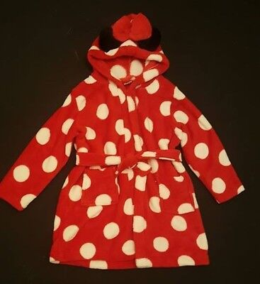 Primark Girls Disney Minnie Mouse Hooded Dressing Gown Short Robe 2 - 9 Years