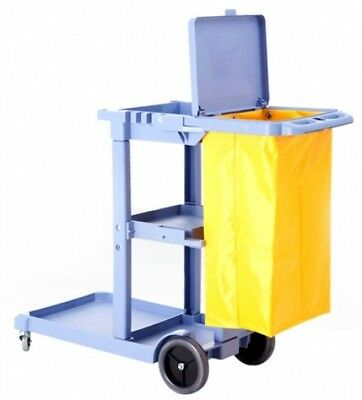 Commercial Housekeeping Janitorial Cart With Vinyl Bag And Cover AF08170A Gray