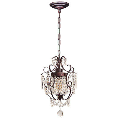 Starthi 1-Light Antique Mini Crystal Chandelier, Wrought Iron Ceiling Light