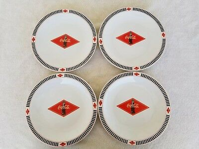Coca Cola  *red & Black* Diamond Pattern Dinner Plates *set Of 4