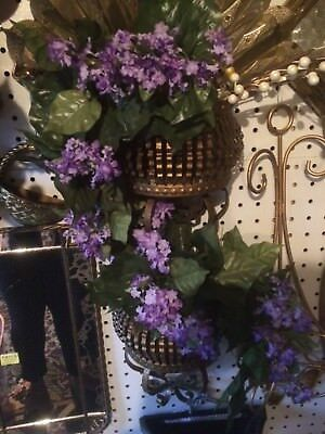 HOME INTERIOR Beautiful Metal Planters with purple flowers