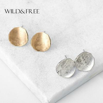 Vintage Zinc Alloy Round Stud Earrings For Women Retro Antique Gold Silver Simpl