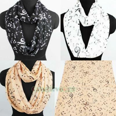Women Fashion Scarves Musical Note Print Ladies Soft Chiffon Infinity Scarf Gift