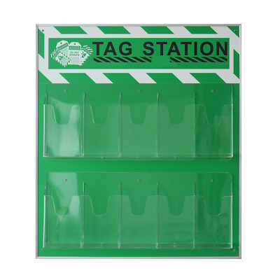 GLF Green Industrial Security Safety Tag Station,Unfilled, Station Only