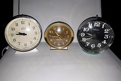 3 x Vintage Mechanical - Westclox / westclox  Baby Ben / smith  Alarm - 50/60's