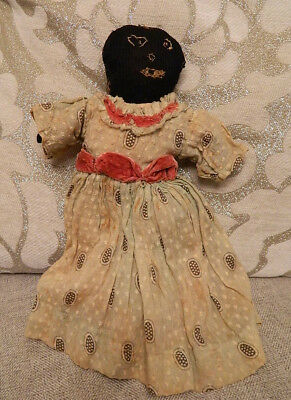 "Unusual 12"" African American Black Early Rag Doll from 1800s Stitched Face Dress"