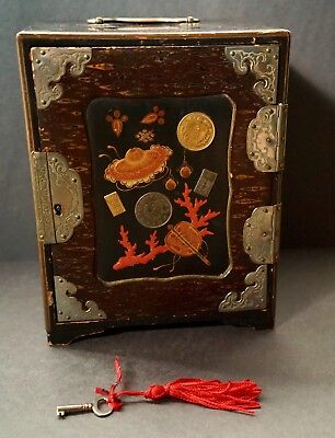 Antique Japanese Meiji Period Papier Mache Black Lacquered Coin Box with Key