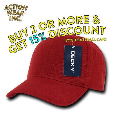 Decky 402 Men's Baseball Hat Fitted Hats Classic Cap Curved Bill Caps +9 Colors