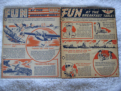 LOT OF TWO 1940's WHEATIES FUN AT THE BRERAKFAST TABLE PREMIUMS #'s 33/34 NR