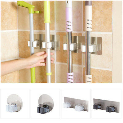 Wall Mounted Mop Organizer Holder Clean Brush Broom Hanger Rack Kitchen Tool