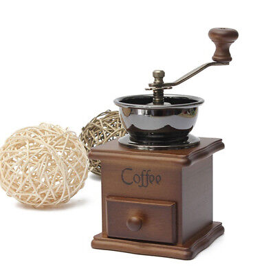Classical Mini Manual Coffee Bean Spice Herbs Vintage Retro Hand Grinder Wooden