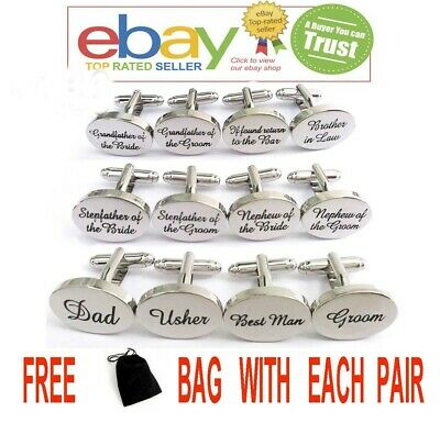 Silver Plated Engraved Personalised Weddings Cufflinks Cuff Links Gift Best Man