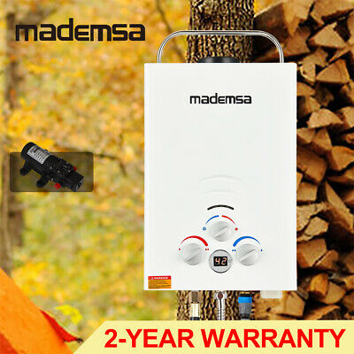 MADEMSA Gas Hot Water Heater Portable 12v Pump Camping Shower 4WD Caravan White