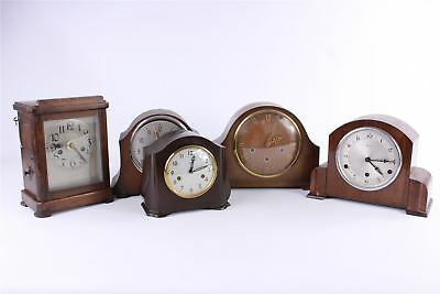 Brilliant Lot of 5 x Vintage WOODEN  Mantle Wind-Up Clocks SPARES&REPAIRS