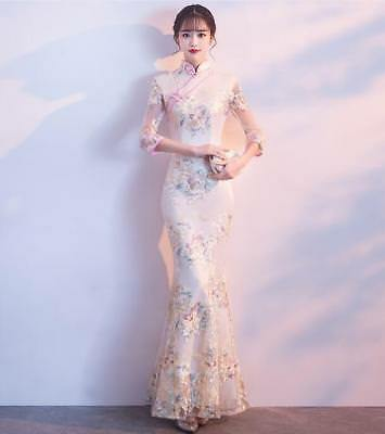 Luxuious Chinese Style Pink Flowers Embroidery QIPAO Short Sleeve Slim Cheongsam