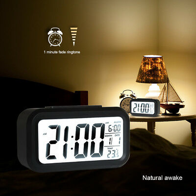 Alarm Clock Large Digital LED Display Desk Thermometer Calendar Time Snooze