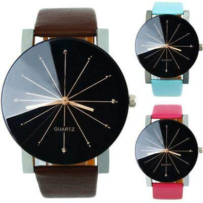 Fashion Men's Quartz Dial Stainless Steel Clock Leather Wrist Watch Round Case