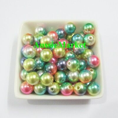 50 x loose beads imitation pearls round mixed colours necklace bracelet diy 8mm