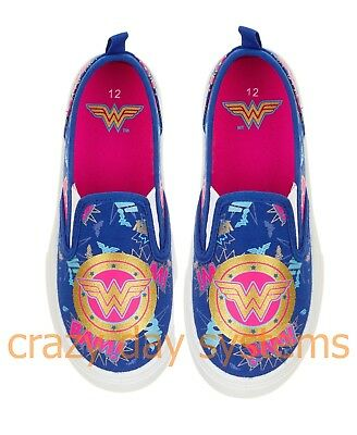 becc81d9ffcf Wonder Woman Shoes Canvas Casual Tennis Slip On Sneaker 12 13 1 2 3 Youth  Girls