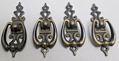 Lot of 4 Amerock Drawer Pulls Backplates Cabinet Cupboard Handles Hardware Brass
