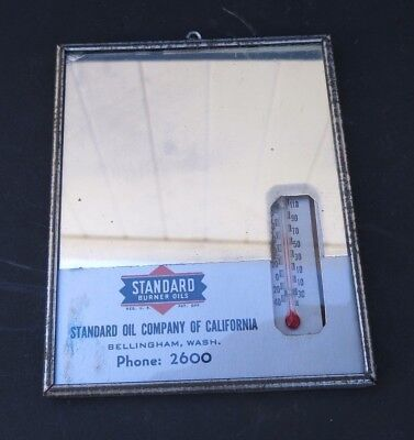 VINTAGE STANDARD OIL CO. of CALIFORNIA MIRROR THERMOMETER-BELLINGHAM,WASH.