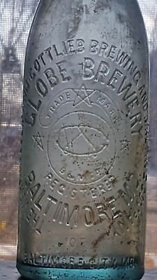 The Globe Brewery Of Baltimore City, Md Aqua Loopseal Beer Bottle