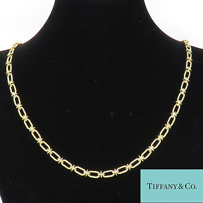 NYJEWEL Tiffany & Co. 14k Yellow Gold X Link Large Heavy Chain Necklace