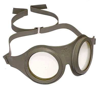 Vintage Finnish Army Goggles airtight rubber glass grey pilots retro motorcycle