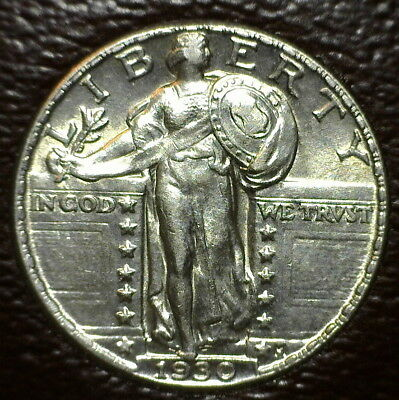 Attractive White 1930 Standing Liberty Quarter With Rotated Reverse (20° Ccw)