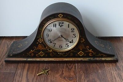 Beautiful Gilbert Antique Mantle Clock With Unique Flower Floral Design / Inlay