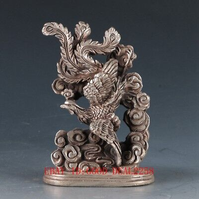 Chinese White Copper Hand Carved  Phoenix  Statue ZJ191