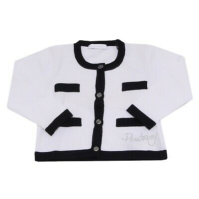 3838V maglione bimba PEUTEREY cardigan white/black sweater cotton girl kid