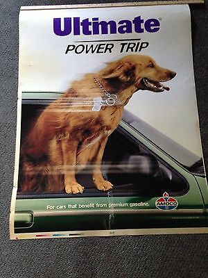 "Vintage Amoco Gas Double Sided Large Sign 44x33 Dogs ""Ultimate Power Trip"""