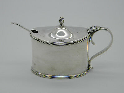 Solid Silver Barker Brothers Mustard Pot with Blue Glass Liner 1910 Chester