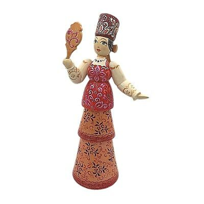Handmade Russian doll with Mirror, traditional Russian design, wooden figurine