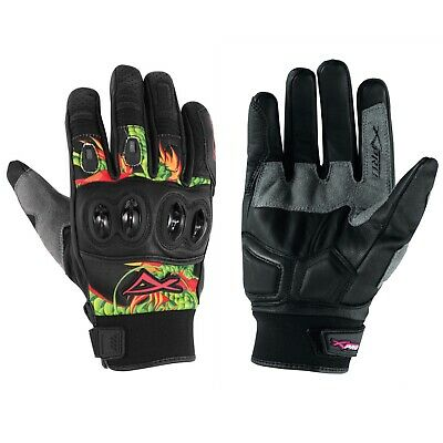 Hi Quality Leather Textile Motorcross Gloves Motorcycle Apparel Scooter Green