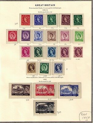 Great Britain 1952-55 Qeii First Issue ,mh&used Complete Page Cv:$174