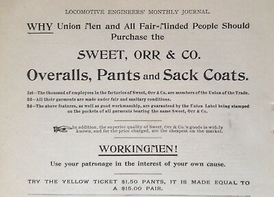 1895 Ad (1800-26)~The Sweet, Orr & Co. Union Made Railroad Men Overalls, Pants